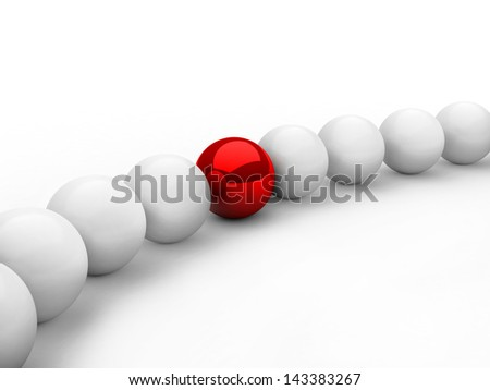 leadership concept with red sphere and many white spheres - stock photo