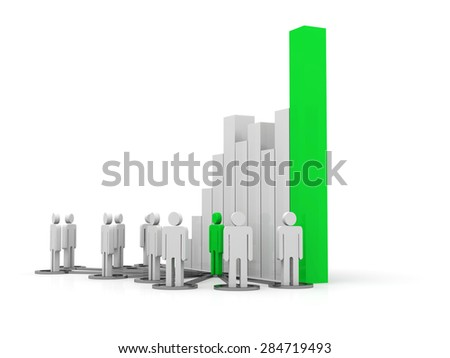 Leadership concept with success full graph - stock photo