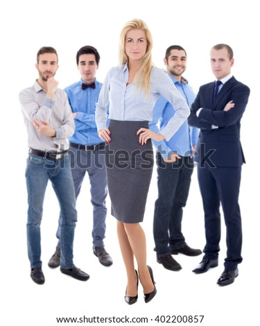 leadership concept - young beautiful business woman and her male colleagues isolated on white background - stock photo