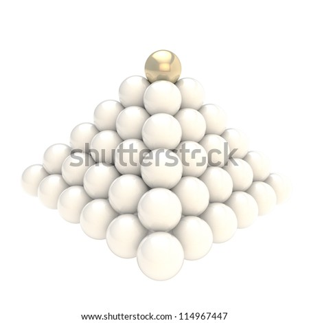 Leadership conception as pile pyramid of glossy spheres with one golden at the top, isolated on white background - stock photo