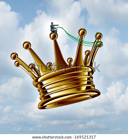 Leadership guidance business concept  as a businessman directing a golden flying king crown with a harness as a success metaphor for taking charge and planning a winning strategy on a sky background. - stock photo