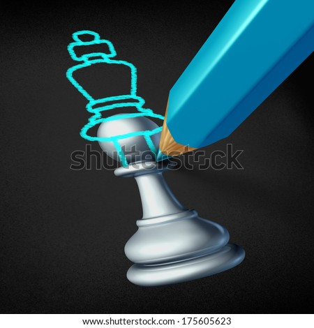 Leadership planning and future leader concept as a chess pawn image with a blue pencil drawing an overlapping sketch of a king piece as a career success metaphor as a winning business strategy icon. - stock photo