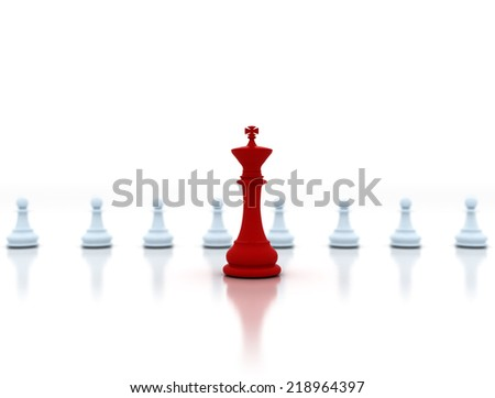Leadership. Red chess king in front of white pawns - stock photo