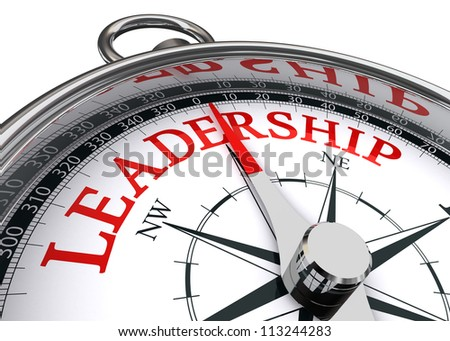 leadership red word indicated by compass conceptual image on white background - stock photo
