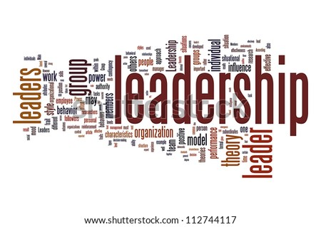 Leadership related word info-text graphic and arrangement concept. - stock photo
