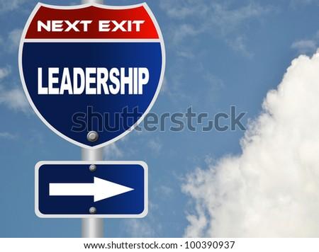 Leadership road sign - stock photo