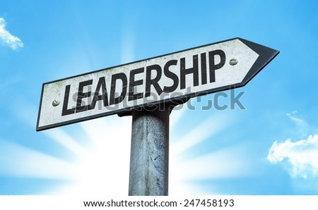 Leadership sign with sky background - stock photo