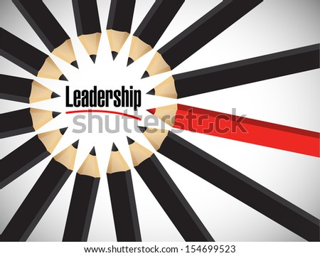 leadership word around a set of colors. illustration design over white - stock photo