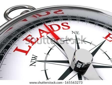 leads conceptual compass isolated on white background - stock photo