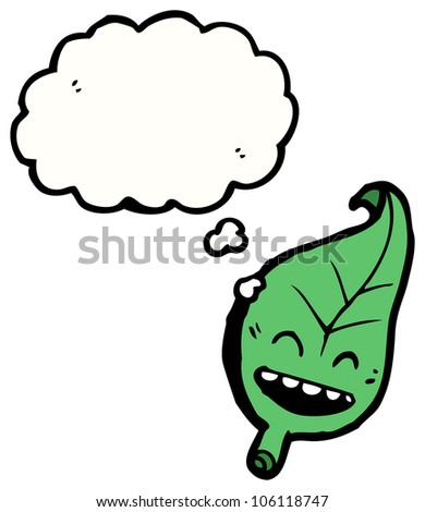 leaf cartoon character - stock photo