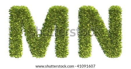 Leaf covered letters M and N - part of a full alphabet - stock photo