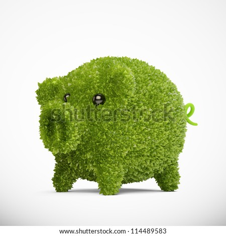 Leaf covered piggy bank - ecology and savings concept - stock photo