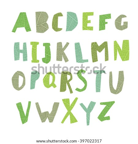Leaf Cut Alphabet.Capital letters. Good for ecology, environment, nature, organic themed designs - stock photo