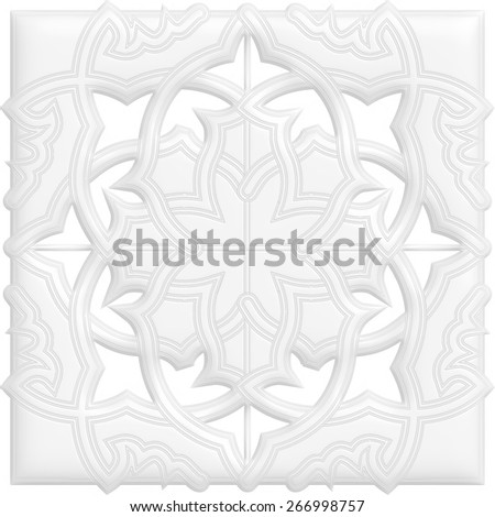 Leaf, floral pattern from curls. Gray and white ornament background. - stock photo