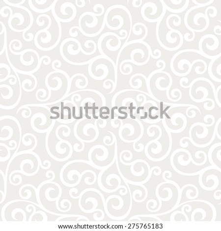 Leaf, floral pattern from curls. Seamless  background. Gray and white ornament - stock photo