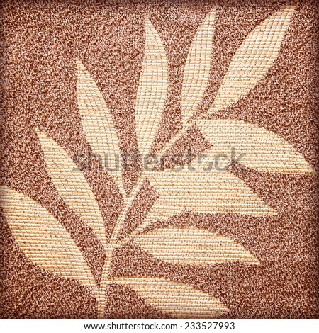 Leaf patterns on the fabric background - stock photo