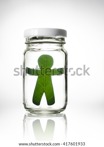 leaf people breezy in the glass jar  - stock photo