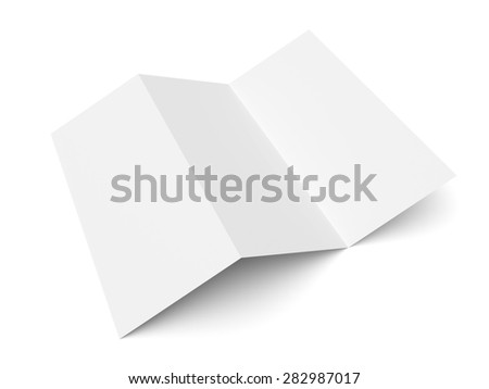 Leaflet blank trifold paper brochure mockup isolated on white background - stock photo