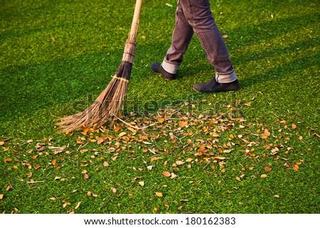 leafs sweep - stock photo