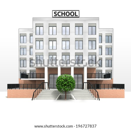 leafy tree in front of modern school building illustration - stock photo