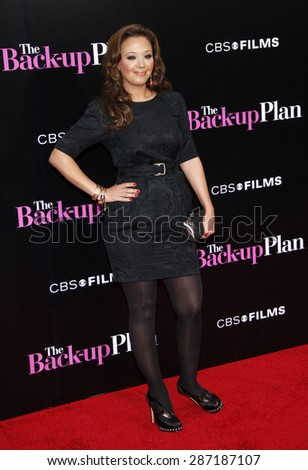 Leah Remini at the Los Angeles premiere of 'The Back-Up Plan' held at the Regency Village Theatre in Westwood on April 21, 2010.  - stock photo