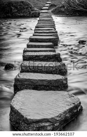 Lealholme Stepping stones - stock photo
