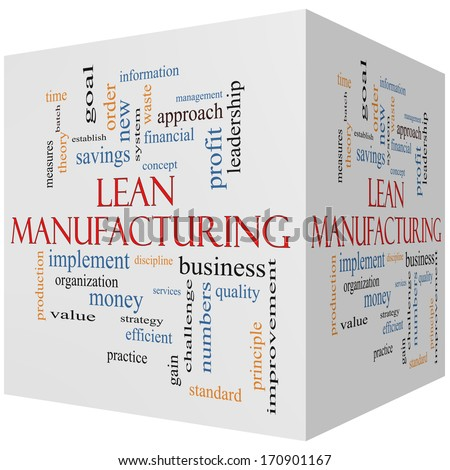 Lean Manufacturing 3D cube Word Cloud Concept with great terms such as quality, discipline, concept and more. - stock photo