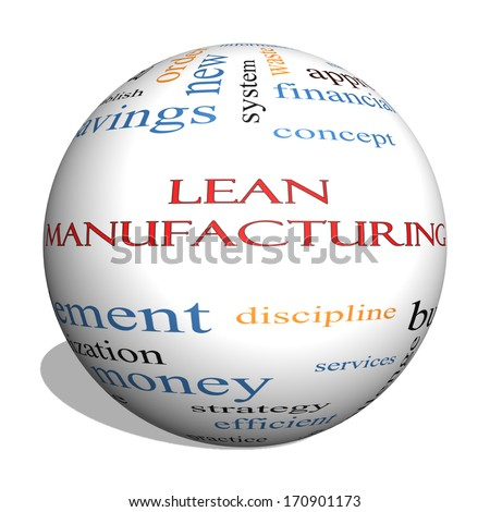 Lean Manufacturing 3D sphere Word Cloud Concept with great terms such as quality, discipline, concept and more. - stock photo