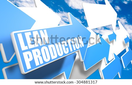 Lean Production - 3d render concept with blue and white arrows flying in a blue sky with clouds - stock photo