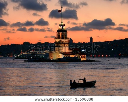 Leander's tower at dusk. Istanbul - Turkey - stock photo