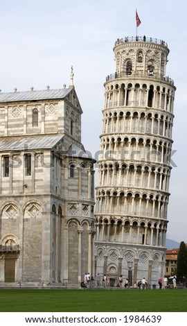 Leaning Tower beside the Cathedral,Campo de miracoli, Pisa, Italy - stock photo