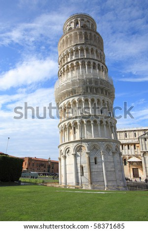 Leaning Tower of Pisa, Italy. Famous landmark, inscribed on UNESCO World Heritage List. - stock photo