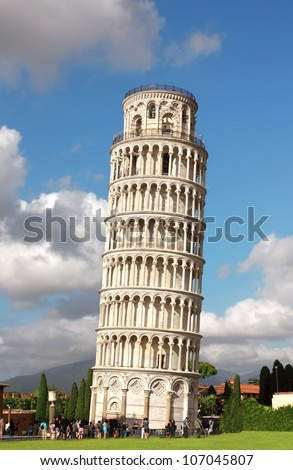 Leaning Tower of Pisa. Summer day - stock photo