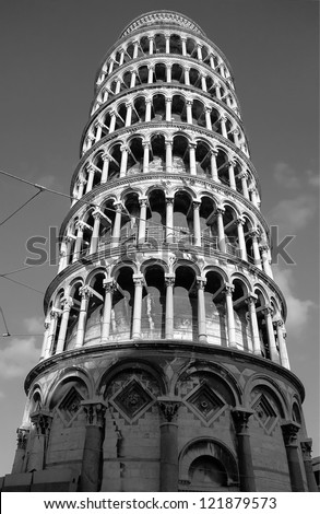Leaning tower - Pisa, Tuscany, Italy (black and white) - stock photo