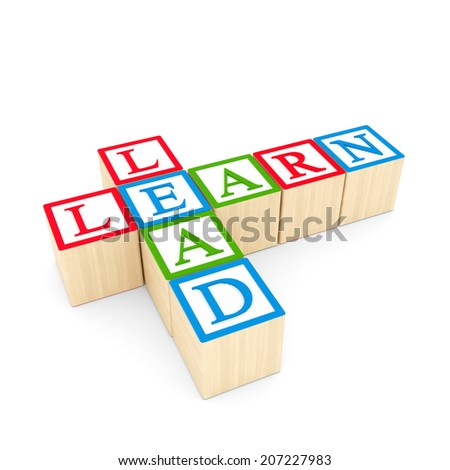 Learn and lead Blocks - stock photo