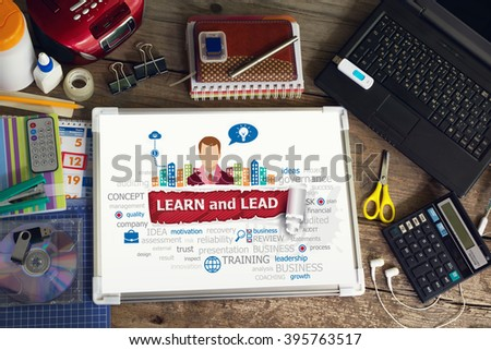 Learn and Lead  concept for business, consulting, finance, management, career. - stock photo