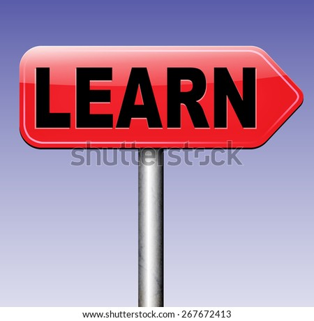 learn and study and find info information sign. Online education unniversity and learning. Search and find knowledge online.  - stock photo