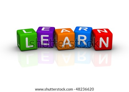 learn (colorful cubes words series) - stock photo