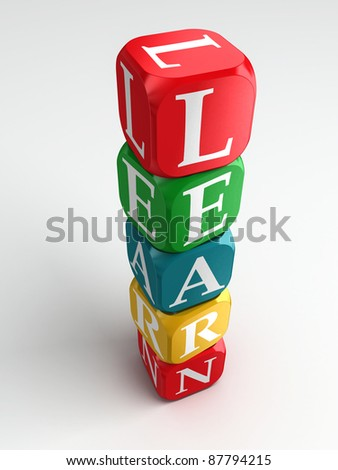 learn 3d colorful buzzword on white background - stock photo