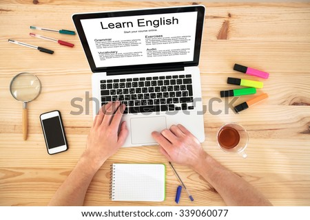learn english online, concept, language courses on internet - stock photo