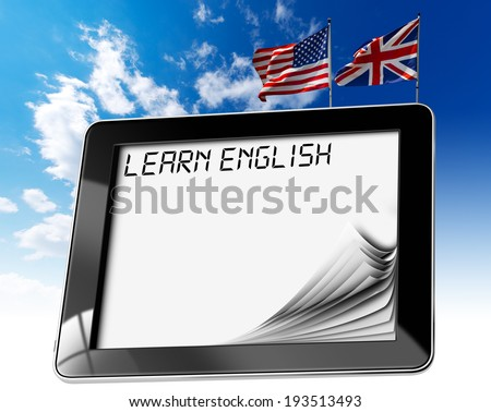 """Learn English - Tablet Computer / Black tablet computer with pages and phrase """"learn english"""" on display, british and usa flags on a blue sky - stock photo"""
