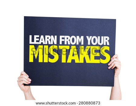 Learn From Your Mistakes card isolated on white - stock photo
