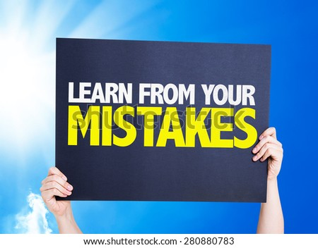 Learn From Your Mistakes card with sky background - stock photo