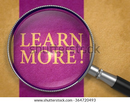 Learn More through Lens on Old Paper with Dark Lilac Vertical Line Background. - stock photo