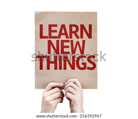 Learn New Things card isolated on white background - stock photo