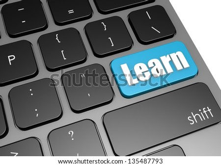 Learn with black keyboard - stock photo