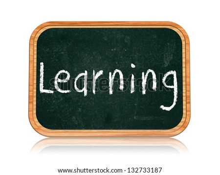 learning - chalk text on 3d isolated wooden blackboard banner - stock photo