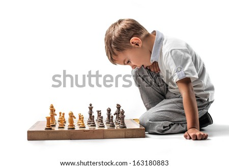 Learning Chess Player - stock photo