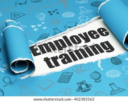 Learning concept: black text Employee Training under the curled piece of Blue torn paper with  Hand Drawn Education Icons, 3D rendering - stock photo
