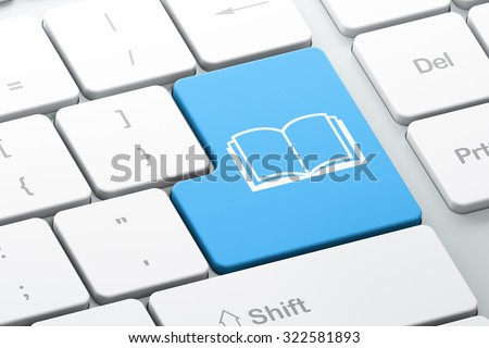 Learning concept: Enter button with Book on computer keyboard background, 3d render - stock photo